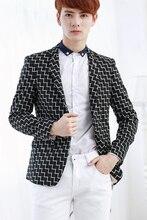2017 Autumn casual male slim blazer outerwear fashion plaid suit formal dress men's new clothing singer costumes
