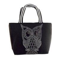 2017 Large Capacity Fashion Black Owl Top Handle Bags Owls Single Shoulder Tote Handbag Women Weaving