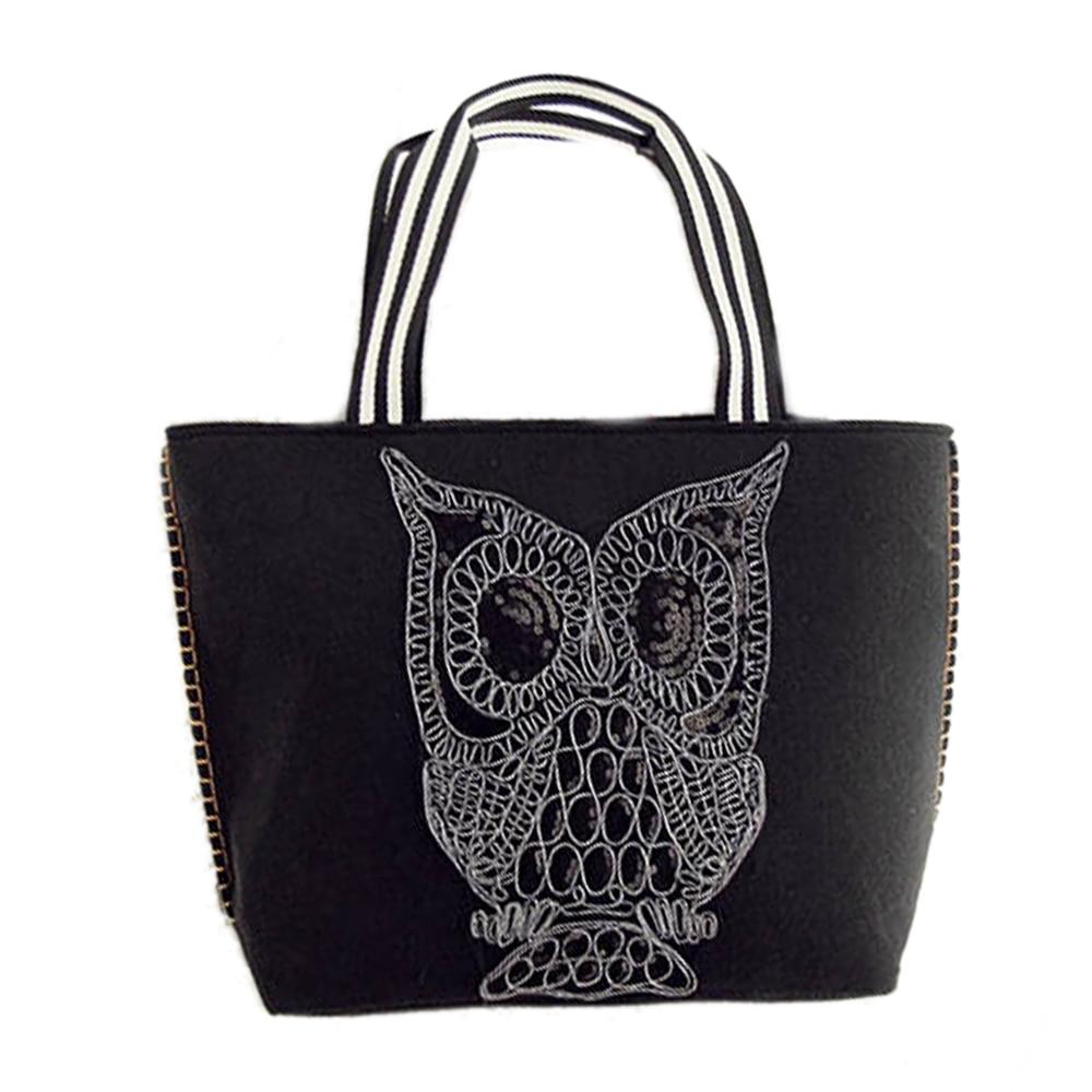 2017 Large Capacity Fashion Black Owl Top-Handle Bags Owls Single Shoulder Tote Handbag Women Weaving Euramerican Female Handbag