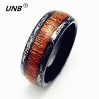 UNB Free Shipping Wood Ring Hot Sales 8MM Black With Shiny Edges Comfort Fit Design Men
