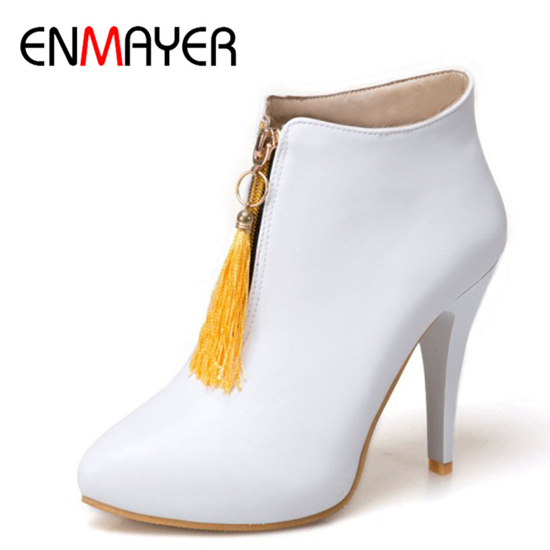 ENMAYER 4 Colors White Shoes Woman High Heels Pointed Toe Ankle Boots for Women Plus Size