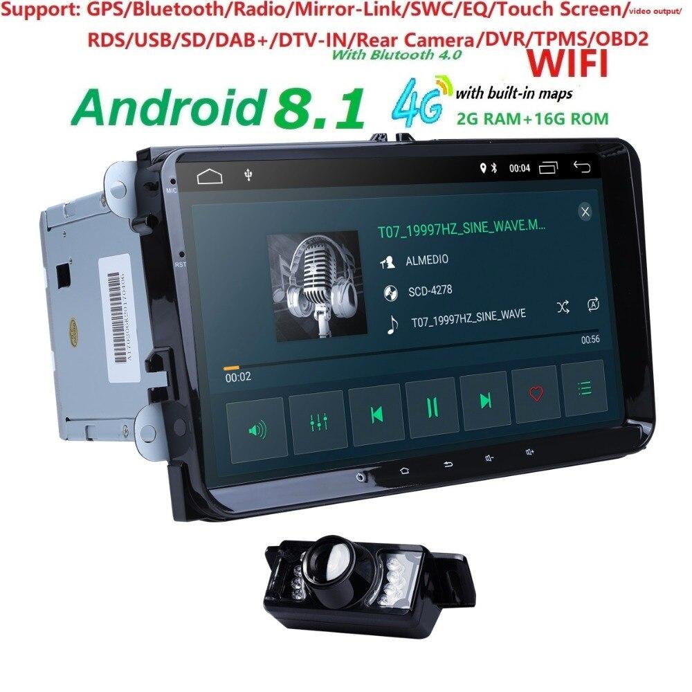 Android 8.1 9 2din Voiture AutoAudio pour V W POLO DE GOLF 5 6 POLO PASSAT B6 CC J ETTA TIGUAN TOURAN EOS SHARAN SCIROCCO CADDY GPS Navi
