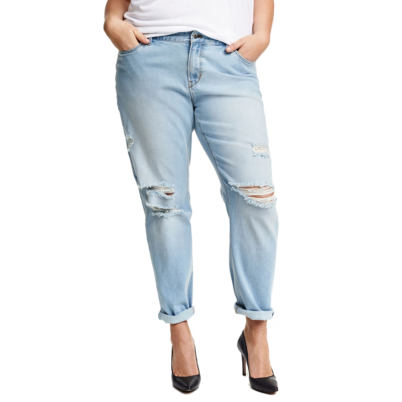 2017 Summer Plus Size New Fashion Women Clothing Casual Solid Broken Jeans Female Button Long Distressed Jeans 3XL 4XL 5XL 6XL