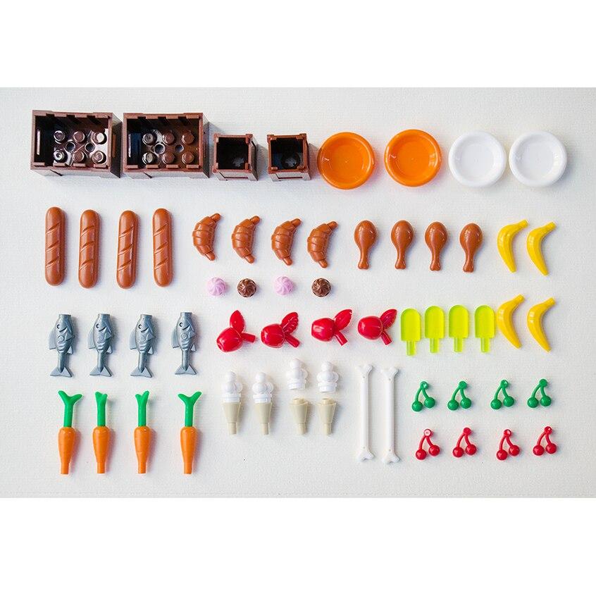 Купить с кэшбэком *Food Stuff Pack* DIY enlighten block bricks,Compatible With Lego Assembles Particles