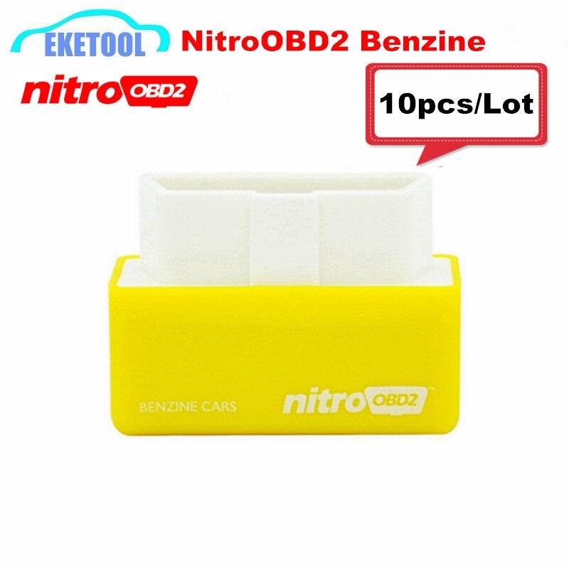 Prix pour 2017 Date NitroOBD2 Benzine Voitures Jaune Dispositif Plus Puissance/Plus Couple Chip Tuning NITRO OBD2 Scanner 10 pcs/Lot