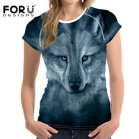 FORUDESIGNS Fashion Grey Women T Shirt Printing Animal Wolf 3D Short Sleeve Funny O Neck Casual