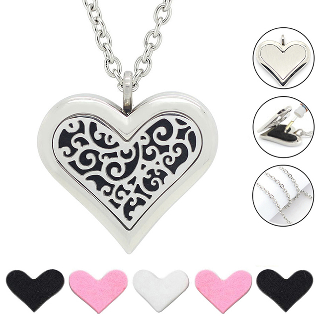Aliexpress buy free with chain as gift hot 35mm large heart hot 35mm large heart necklace 316l stainless steel aromatherapy essential aloadofball Choice Image