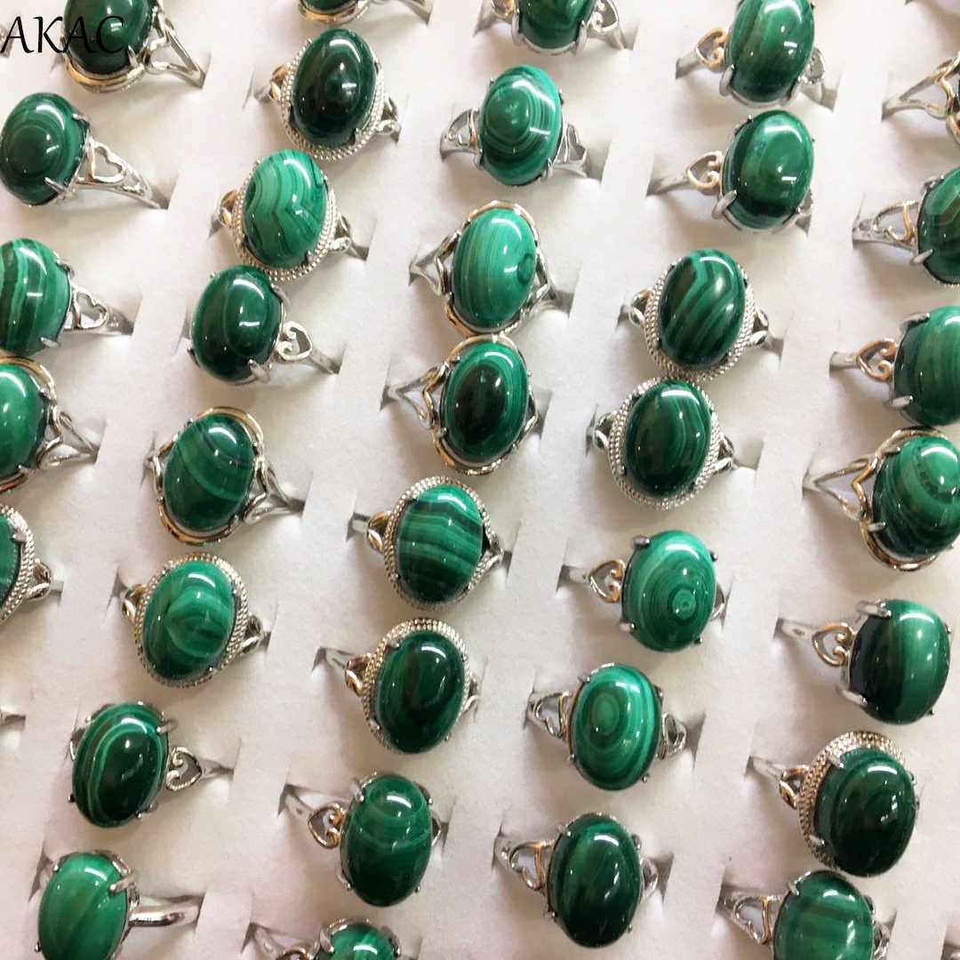 3 แหวน/ชุดประมาณ 10*14 มม.สีเขียวธรรมชาติ malachite แหวนผู้หญิงแหวนขายส่งส่งแบบสุ่ม