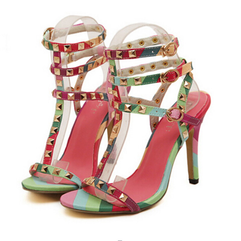 ФОТО 2017 summer new high-heeled sandals seven color rivets fine with open-toed sandals temperament sexy fashion woman shoes w555