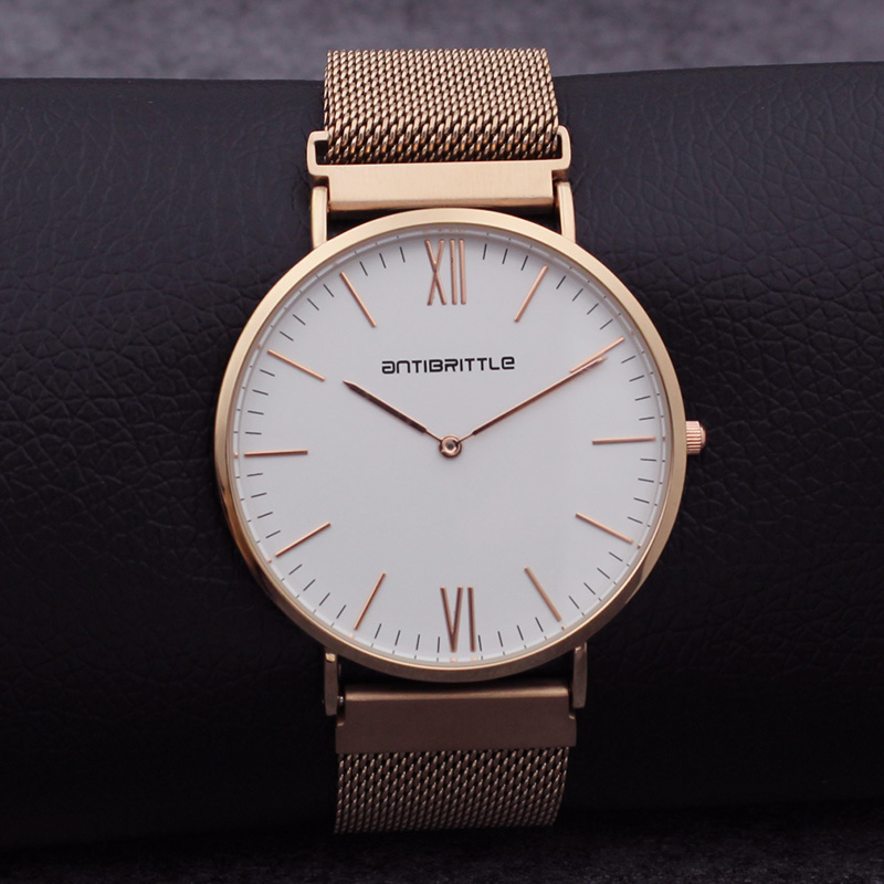 Luxury Japan Quartz Women Mesh Watches Men Minimalist Thin Rose Gold Stainless Steel White Real Leather Magnet Strap Antibrittle