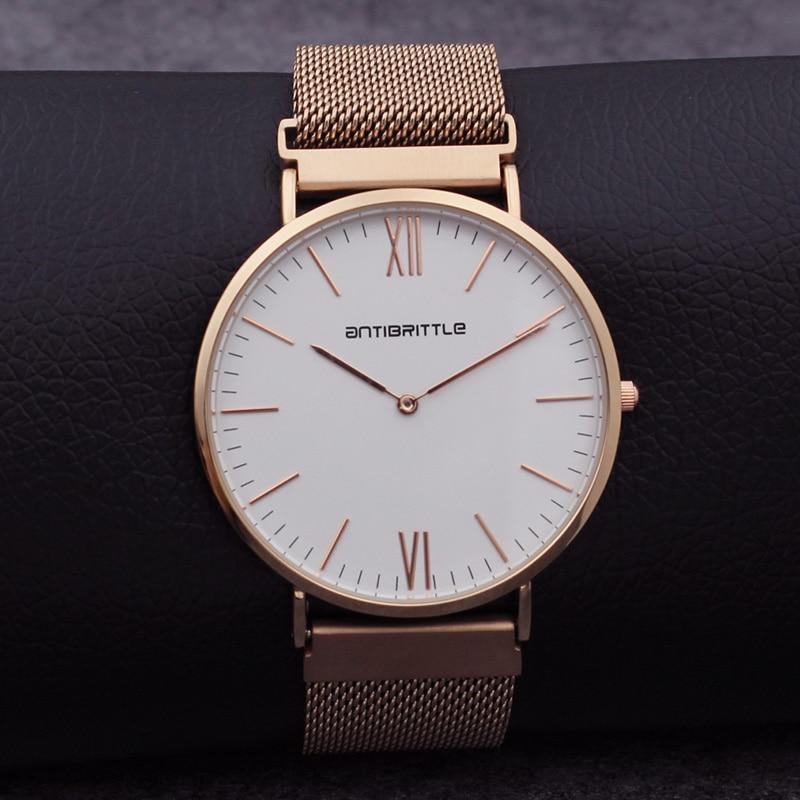 69a4918a6e9c78 Quartz de luxe japon femmes maille montres hommes minimaliste mince or Rose  acier inoxydable blanc véritable