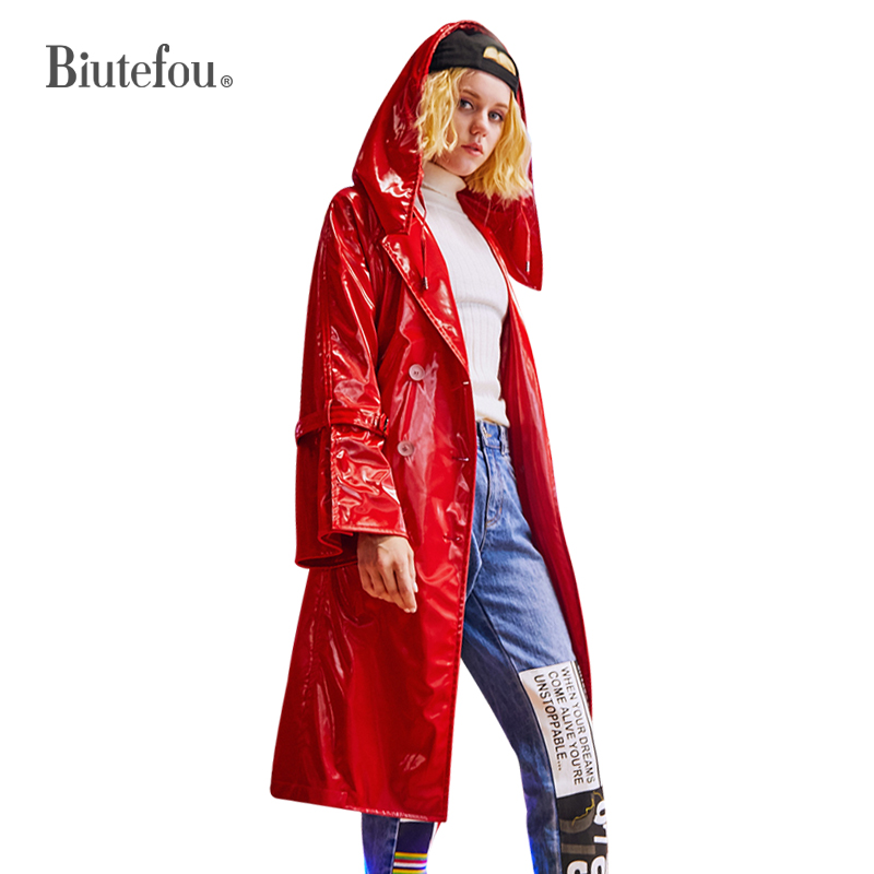 2018Autumn fashion solid color long hooded coats metal color faux leather spliced adjustable waist   Trench