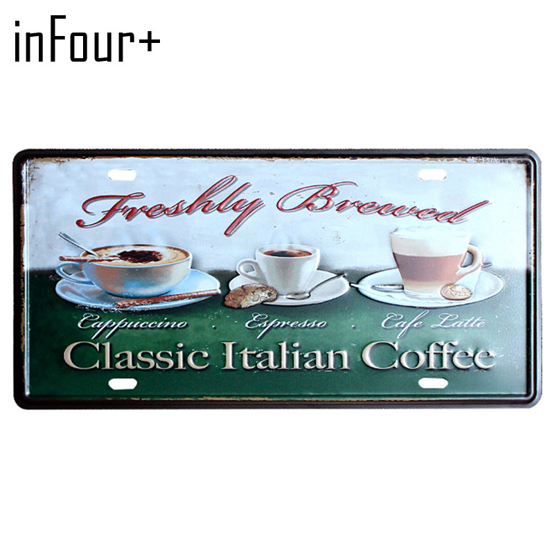 [inFour+] Classic Coffee Plate Metal Plate Car Number Tin Sign Bar Pub Cafe Home Decor Metal Sign Garage Painting Plaques Sign