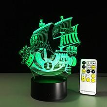 Одна деталь тысяча Солнечный 3D светодио дный свет в ночь Цвет Изменение лампы Лодка фигурку ful USB акриловый светодиодный светильник