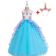 Kid Girl Rainbow Unicorn Gown Dress