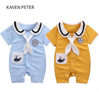 Summer Jumpsuit Romper Baby Girl Romper Baby Boy Suit Dolphin Emroidery Sailor Collar Cotton Romper Baby