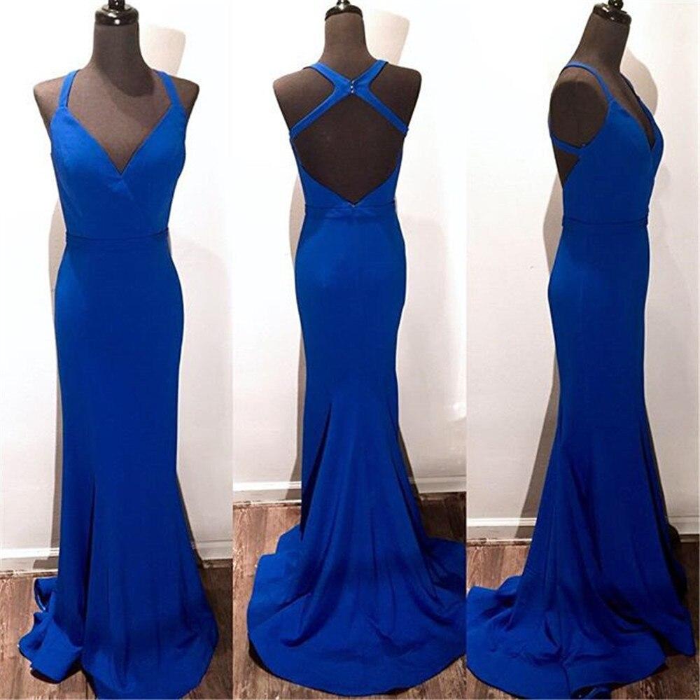 Simpel bleu Royal longues robes De bal dos nu Spaghetti sangle étage longueur sirène soirée robe De soirée 2019 Vestido De Fiesta
