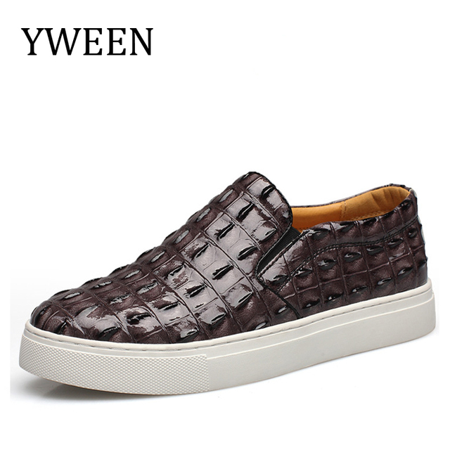 New Man Loafer Leather Shoes Slip-on Spring Autumn Fashion Trend Crocodile Grain Waterproof Male Breathable Casual Flats Shoes