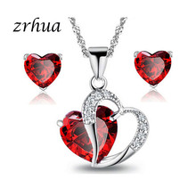 Red/Purple/White Crystal African Jewelry Sets 925 Silver Heart Rhinestone Bridal Necklace Earrings for Women Christmas Gift(China)