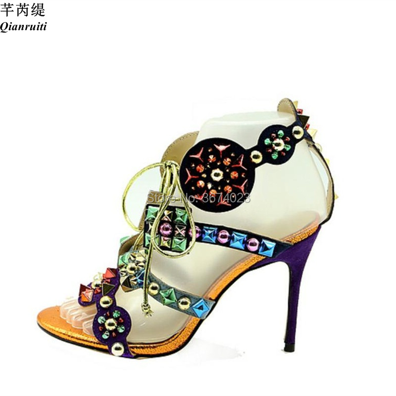 Qianruiti Women Gladiator Colorful Spikes Sandals Caged Peep Toe High Heels Rivets Stilettos Patchwork Sandals Lady Shoes women-in High Heels from Shoes    2