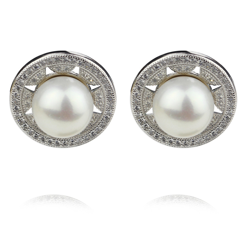 SNH AAA 9 10mm button sterling silver real natural freshwater pearl earrings genuine cultured pearl jewelry earrings for women