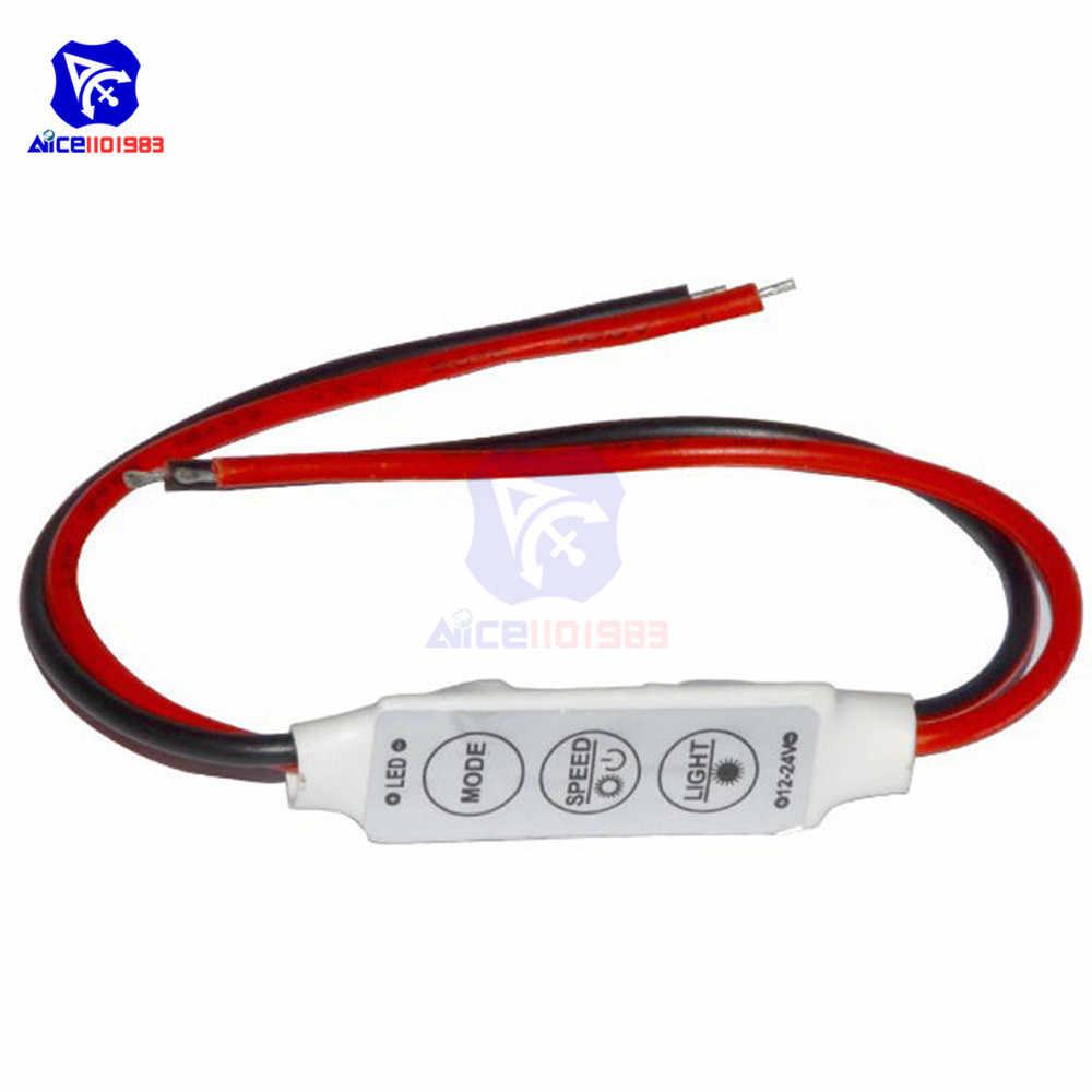 5,5*2,1mm DC adaptador de enchufe de alimentación con tira de LED luz 3 controlador clave para 3528 RGB 5050 LED de luz de tira