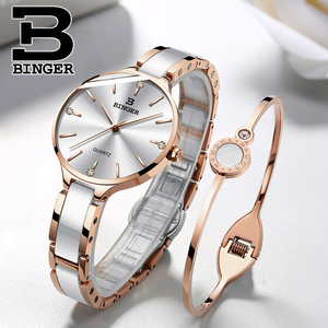 Image 5 - שוויץ BINGER יוקרה נשים שעון מותג קריסטל אופנה צמיד שעונים גבירותיי נשים שעוני יד Relogio Feminino B 1185 4