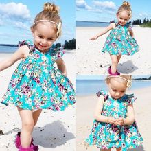 Ruffle Floral Dress Sundress Briefs Outfits Clothes Set