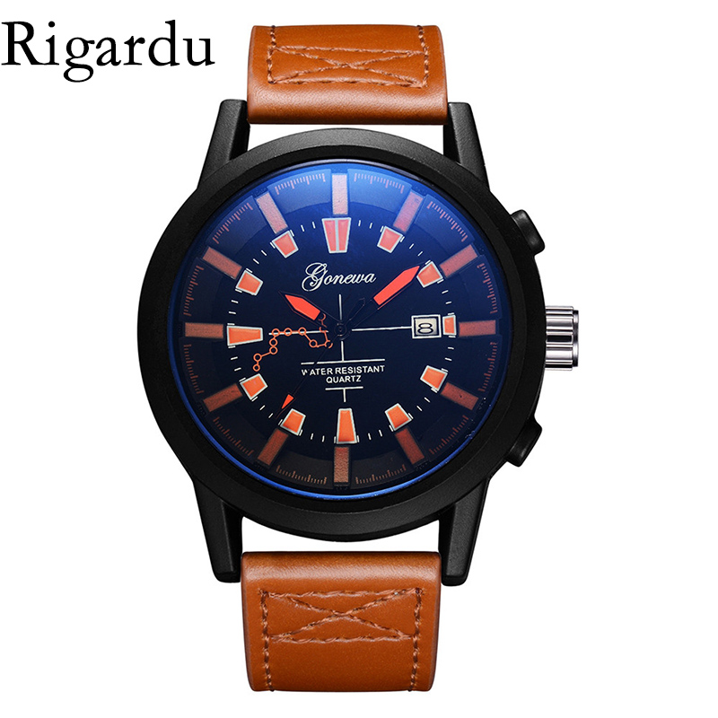 купить Fashion Men Wrist Watch Leather Band Alloy Dial Waterproof Auto Date Display Men Gift Sport Male Quartz Wristwatch #25 недорого