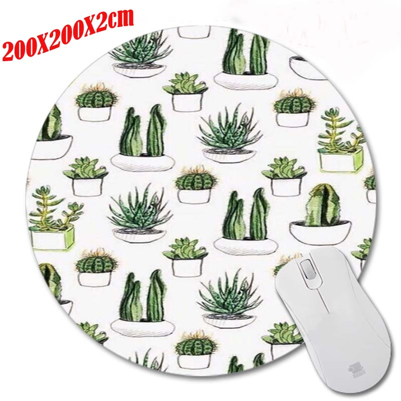 Gaming Round Mouse Pad for Green plants Style Design Best Durable Gaming Optical Anti-slip Mouse Mat Computer Desktop Pad