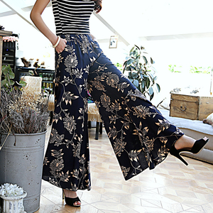 Image 5 - Floral Wide Leg Pants Women Clothing Vintage Trousers Print Harem Flare High Waist Loose Runway Casual 2019 Summer Plus Size