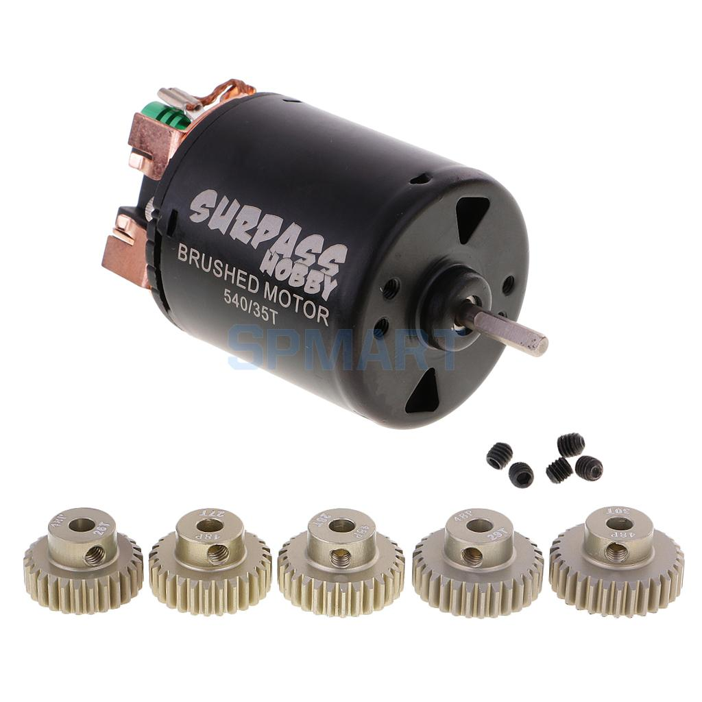 540 35T Brushed Motor + 48DP 3.175mm 26T-30T Pinion Motor Gears for 1/10 RC Car RC4WD D90 SCX10 Axial 11184 steel metal spur diff main gear 64t motor pinion gears 17t 21t 26t 29t 11189 11176 11181 11119 for rc hsp redcat rc truck