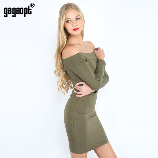 Gagaopt 2017 New Autumn Dress 95% Cotton Slash Neck Longsleeve Sexy Bandage Party Dress Bodycon Vestidos Robes Free Shipping