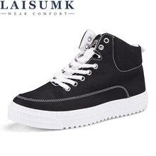 LAISUMK Fashion Men Canvas Shoes Hip-hop High Help 2019 Lace-Up Casual Ankle Boots Brand Flock Flat Male