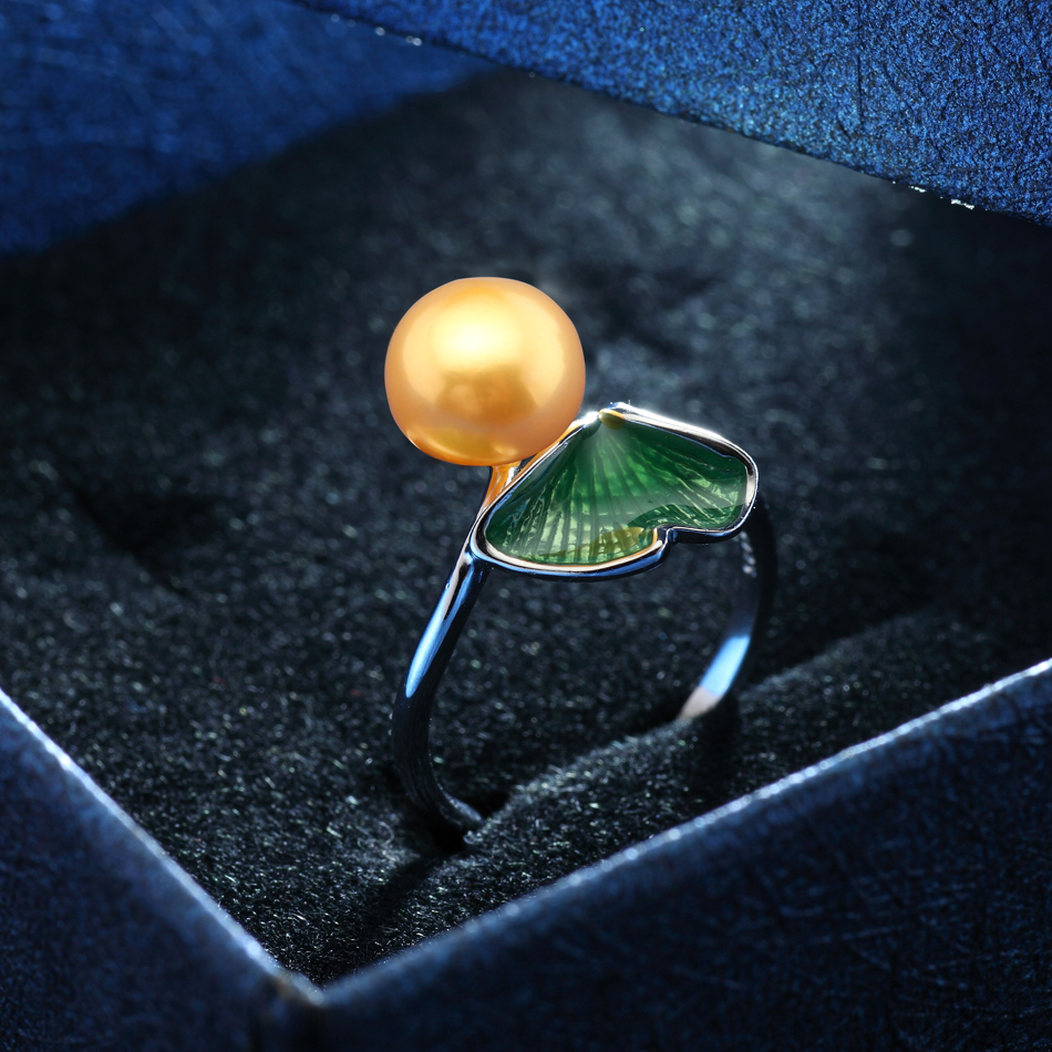 Trendy Leaf Silver 925 Pearl Ring for Women Anniversary Jewelry 8-9MM - Fine Jewelry - Photo 3