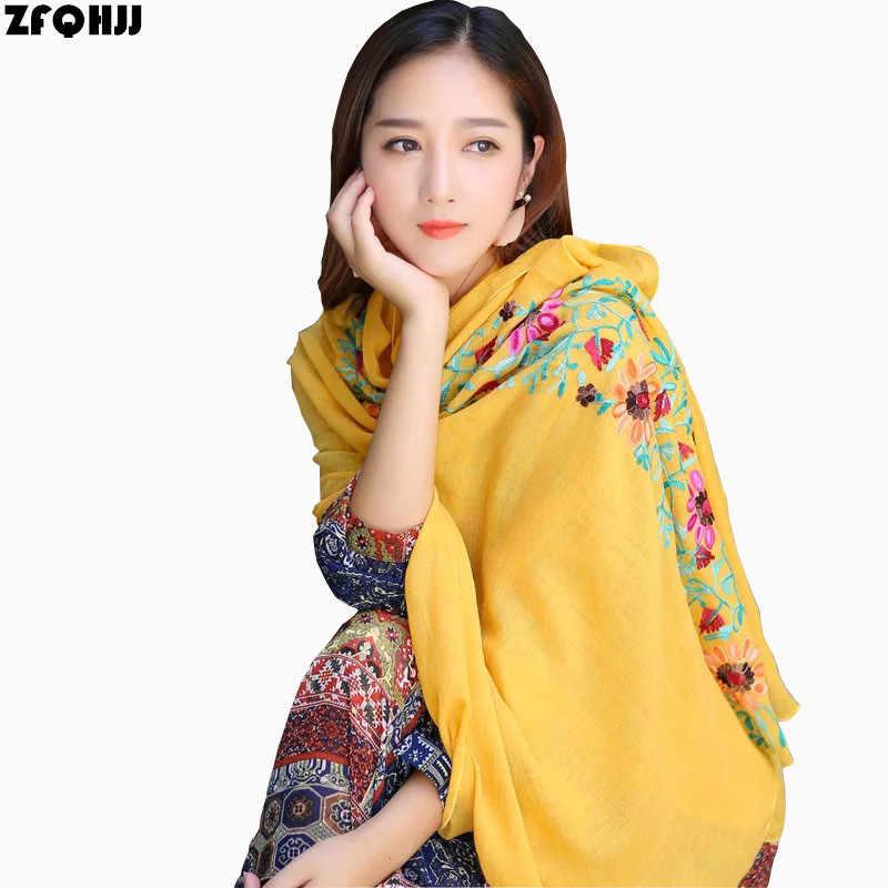 e1ceed0981d ZFQHJJ Women Embroidery Scarf Cotton Linen Floral Muslim Hijab Scarf Large Pashmina  Shawl India Nepal Turban