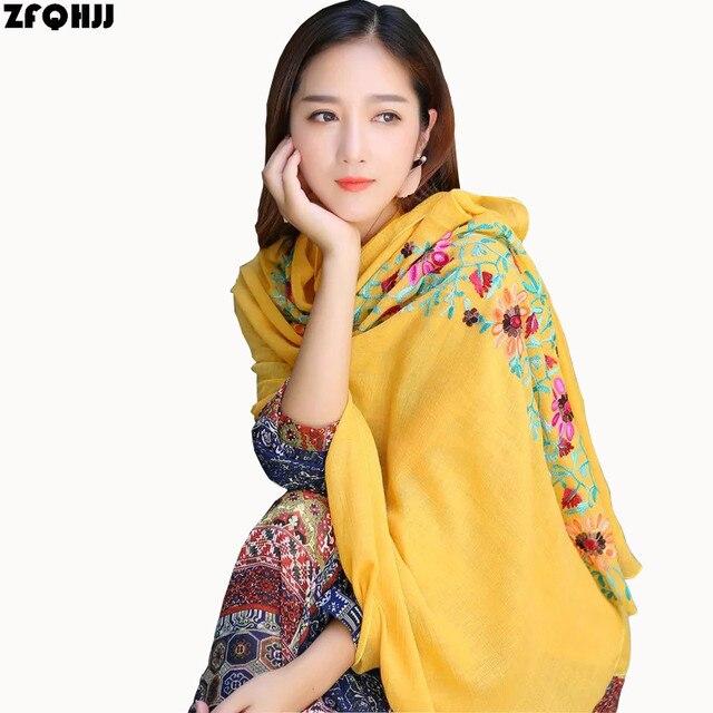 ZFQHJJ mujeres bordado bufanda algodón Lino Floral musulmán Hijab bufanda grande Pashmina chal India Nepal turbante cabeza envolturas 180x90 cm