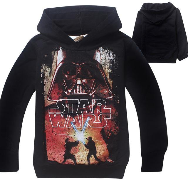 2016 niños resorte de la manera ropa de Star Wars algodón de los muchachos camiseta de los niños sudaderas con capucha de manga larga ropa