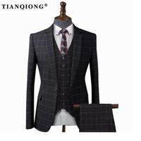 TIAN QIONG Men Black Plaid Tailor made Suits for Wedding Business Tuxedo Suit Costume Homme Slim Burgundy Groom Suit Men 3 Piece
