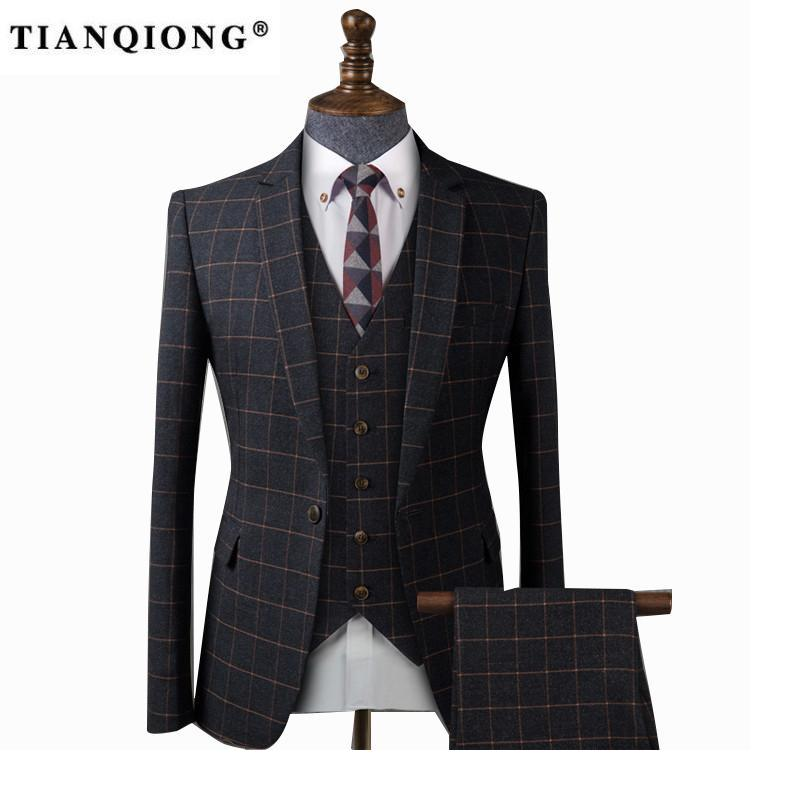 TIAN QIONG Men Black Plaid Tailor-made Suits for Wedding Business Tuxedo Suit Costume Homme Slim Burgundy Groom Suit Men 3 Piece ...