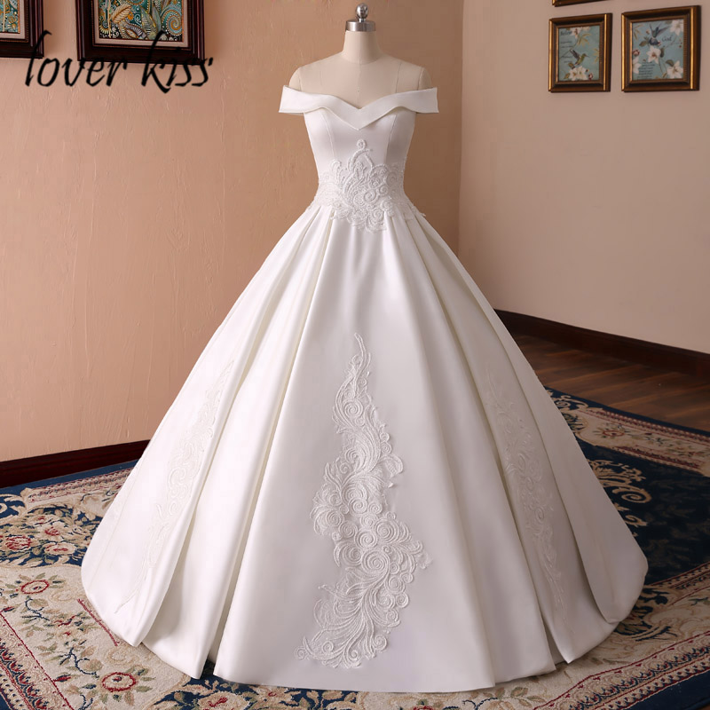 Lover Kiss Vestido De Noiva Princess Satin Off The Shoulder Wedding Dresses Ball Gown Lace Pearls