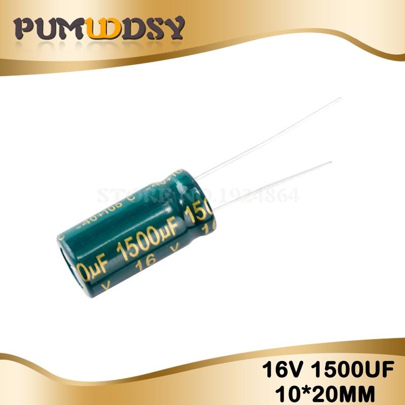 10PCS Higt Quality 16V1500UF 10*20mm 1500UF 16V 10*20 Electrolytic Capacitor