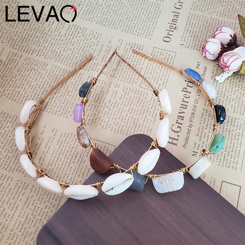 LEVAO Pearl Shell Candy Color Resin Stone Headband Hair Ornaments Bezel Turban Girls   Headwear   Women Hairband Hair Accessories