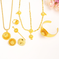 Big Ethiopian WomeJewelry Set Gold Color Hair Pice Pendant Chain Earing Ring Hair Pin Bangle Eritrea