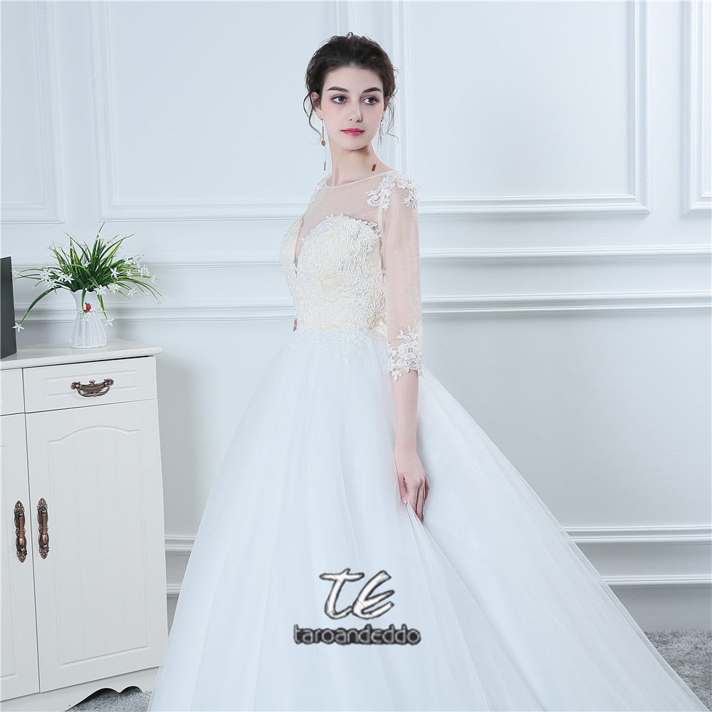 New Three Quarter 3/4 Sleeves Wedding Dress Nude Bodice Sheer Back ...