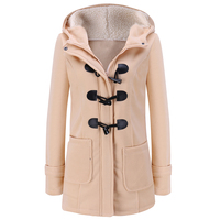 Women S Spring Autumn Trench Coat Long Overcoat Female Hooded Coat Zipper Horn Button Outwear