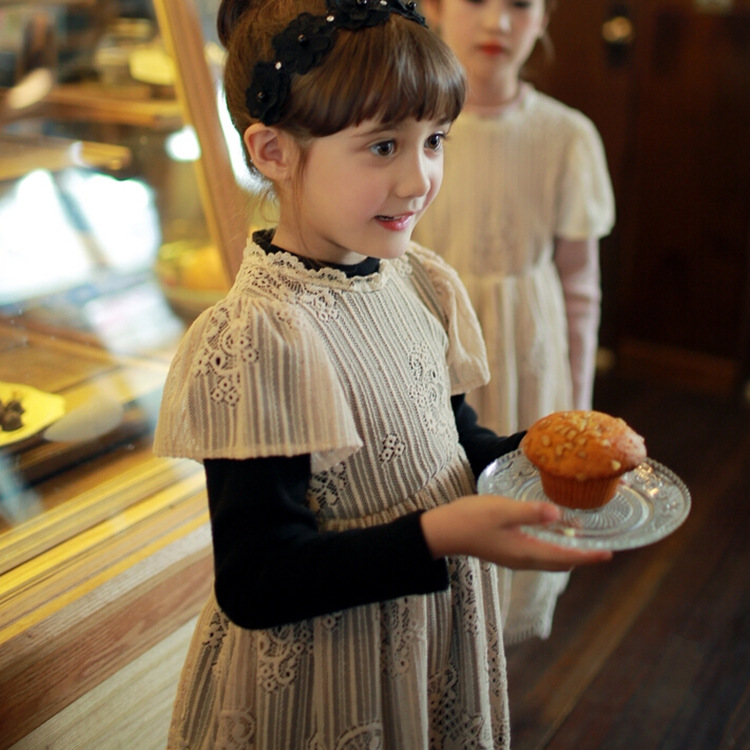 new 2016 autumn winter lace patchwork long sleeve girls dress warm velvet princess dress for girl clothes suit2~7age kid dresses 2015 new spring autumn korea style girls cute leather lace patchwork princess long sleeve dresses baby boutique dress