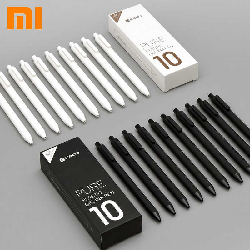 10pc/set Original Xiaomi Mijia Kaco Pen 0.5mm MI Kaco Ballpoint pen Core Durable Signing Pen Refill Black Ink +Kaco Refills