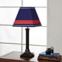 Британский Ветер Ткань Настольные лампы ретро детская спальня ночники освещение Романтический Кафе бар синий настольные лампы ZA FG889