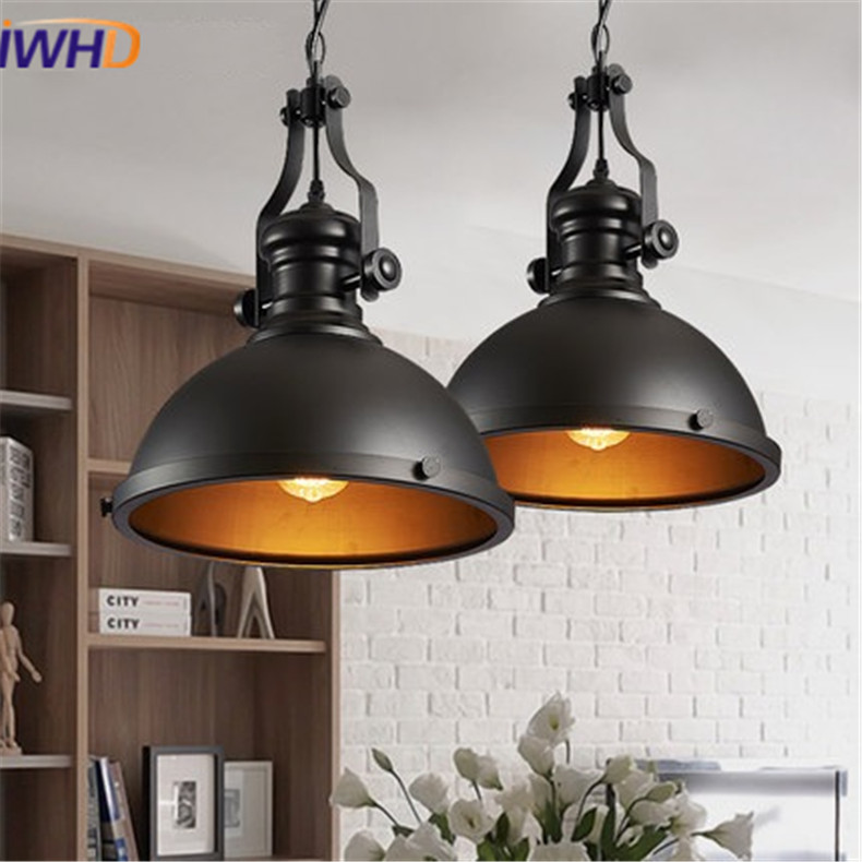 IWHD Nordic Style Vintage Lid Pendant Light lamp Loft Creative Industrial Lamp Fixtures Edison Bulb For Bedroom Home Lighting 6 heads e27 sockets nordic industrial edison chandelier vintage pendant lamp loft antique adjustable diy home lighting w o bulb